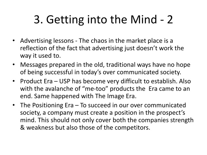 3. Getting into the Mind - 2