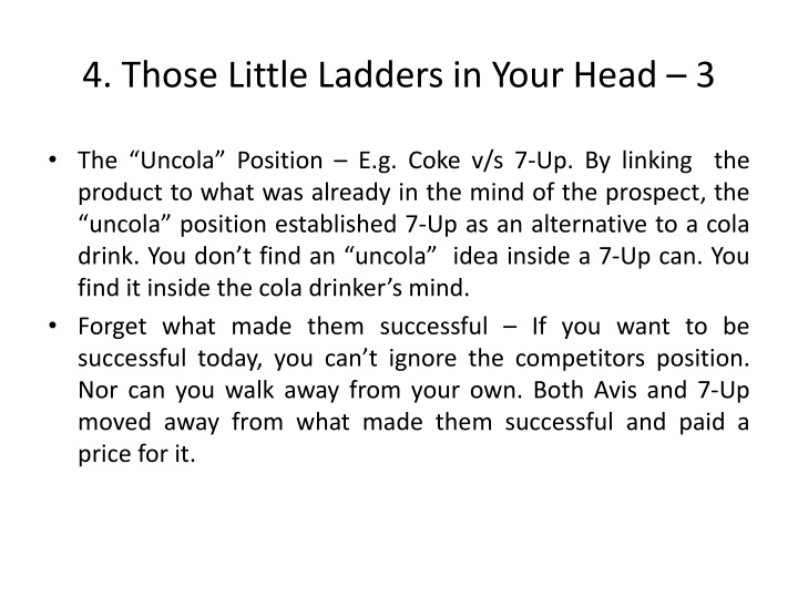 4. Those Little Ladders in Your Head – 3
