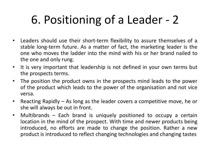 6. Positioning of a Leader - 2