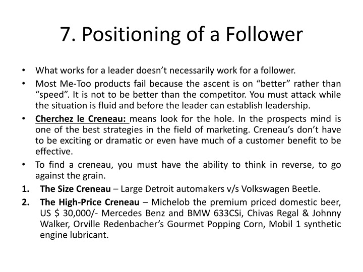 7. Positioning of a Follower