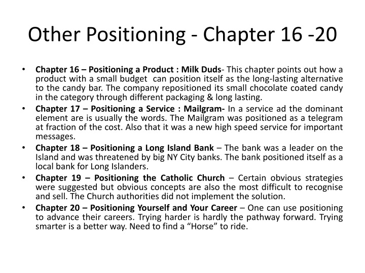Other Positioning - Chapter 16 -20