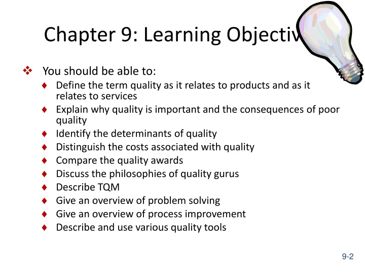 Chapter 9: Learning Objectives