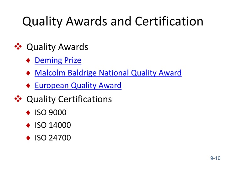 Quality Awards and Certification