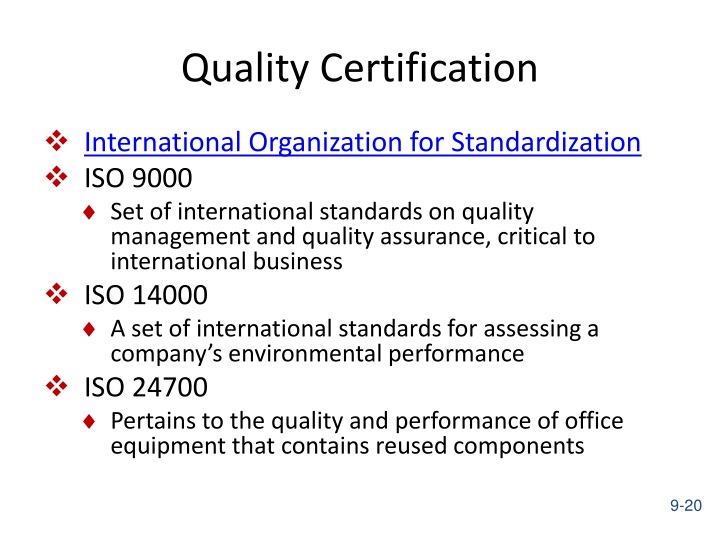Quality Certification