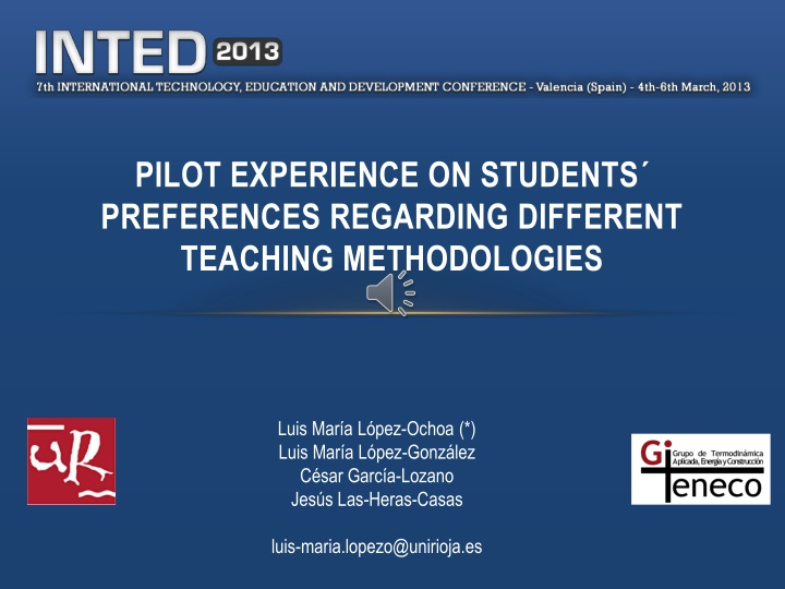 Pilot experience on students preferences regarding different teaching methodologies