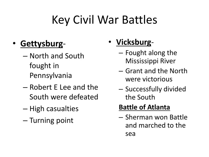 Key Civil War Battles