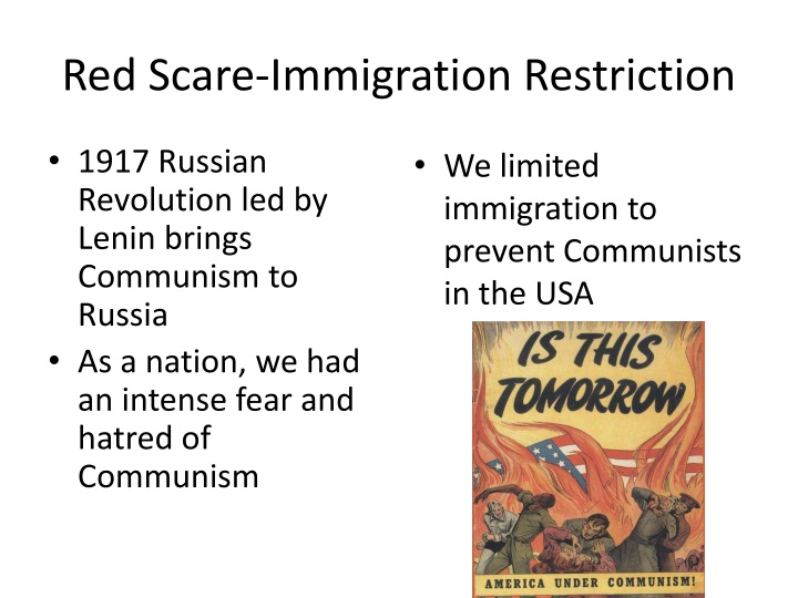 Red Scare-Immigration Restriction