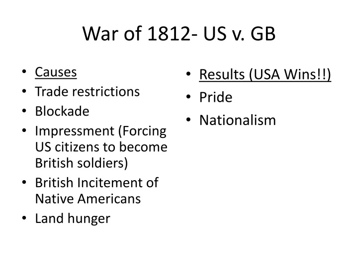 War of 1812- US v. GB