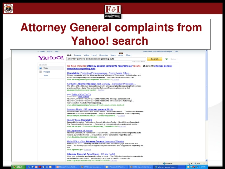 Attorney General complaints from