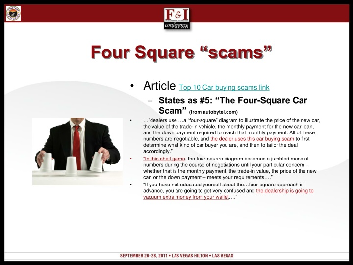 "Four Square ""scams"""