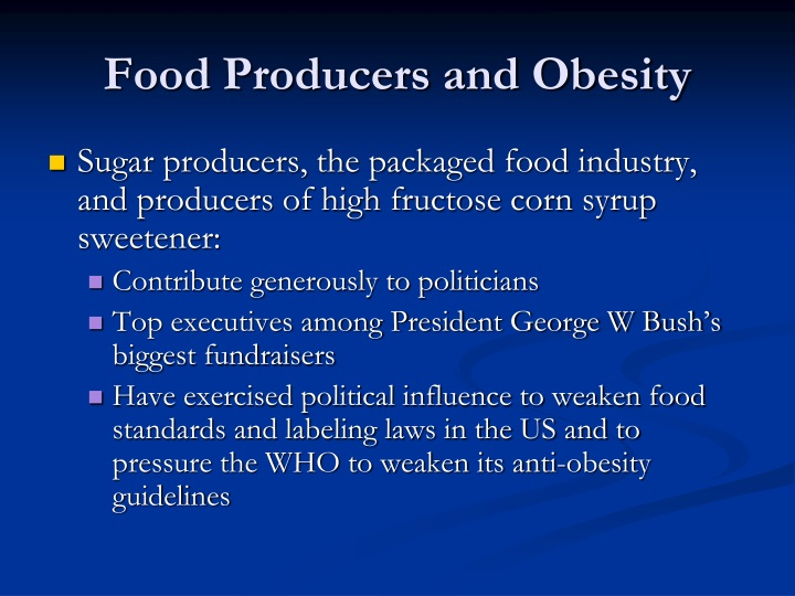 Food Producers and Obesity