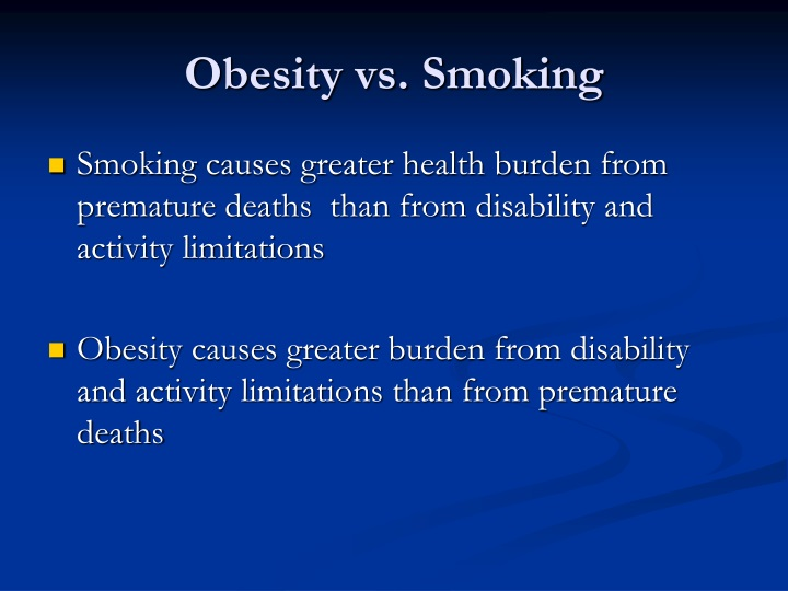 Obesity vs. Smoking