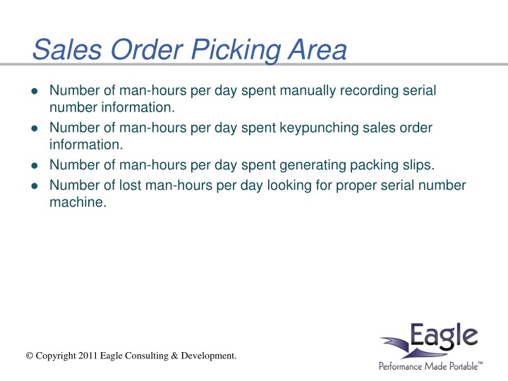 Sales Order Picking Area