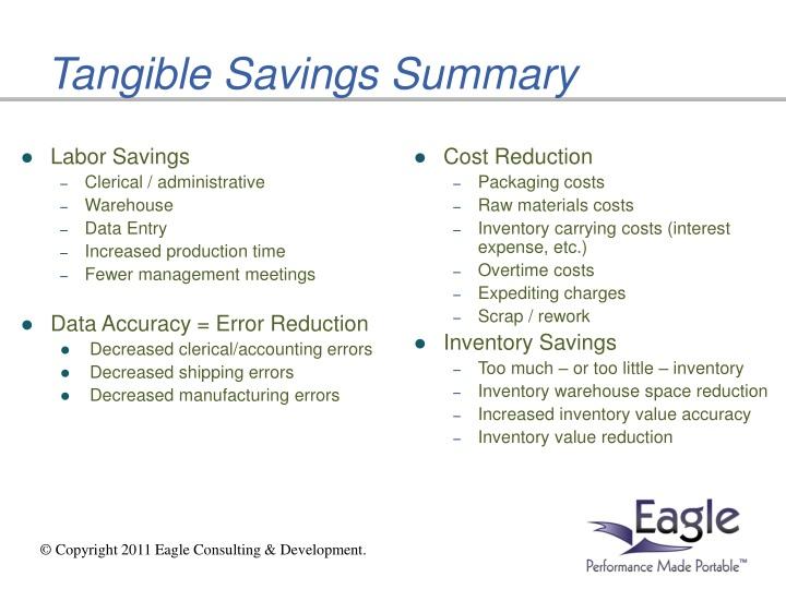 Tangible Savings Summary
