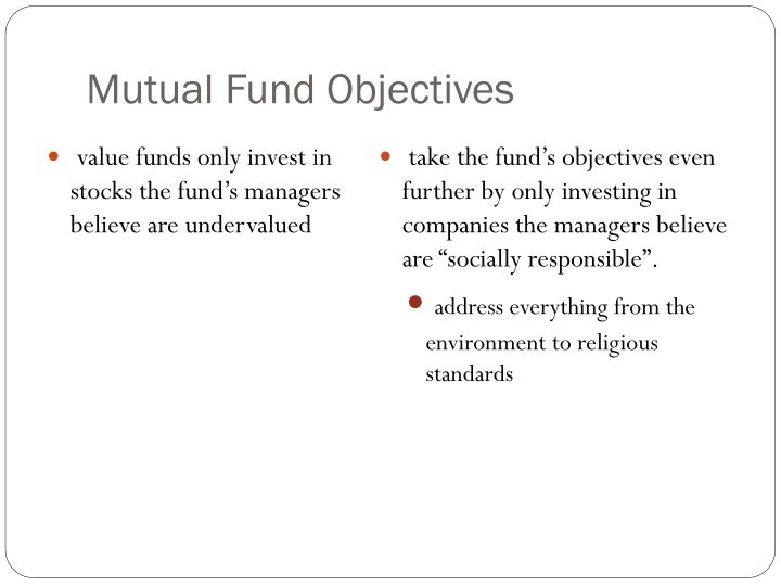 Mutual Fund Objectives