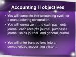 accounting ii objectives