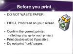 before you print