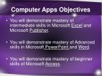 computer apps objectives