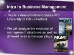 intro to business management