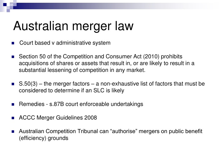 Australian merger law