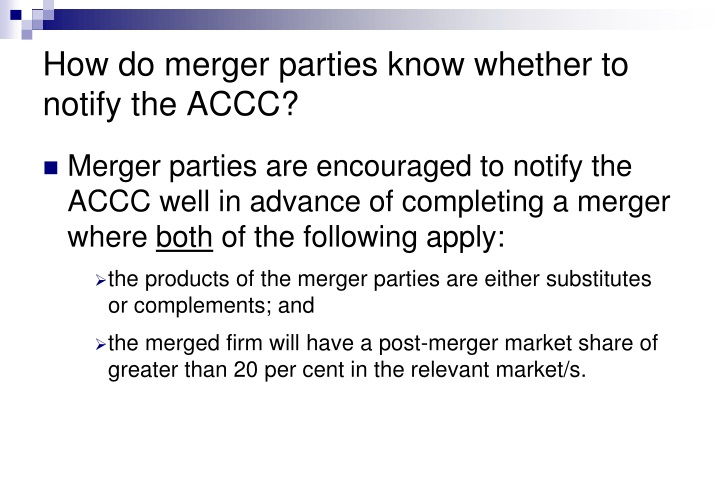 How do merger parties know whether to notify the ACCC?