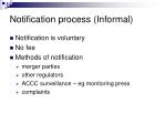 notification process informal