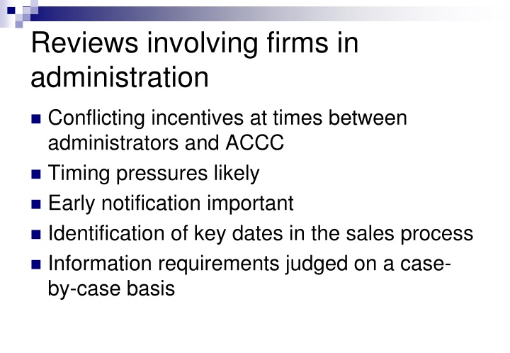 Reviews involving firms in administration