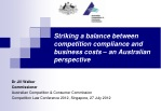 striking a balance between competition compliance and business costs an australian perspective