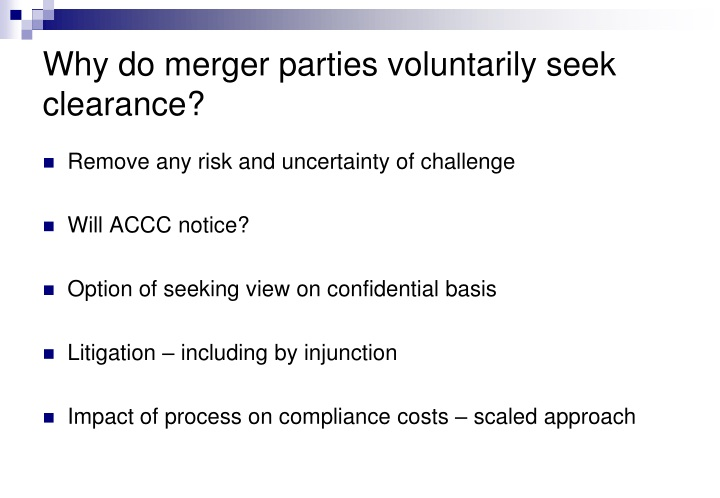 Why do merger parties voluntarily seek clearance?