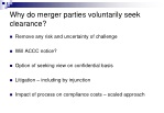 why do merger parties voluntarily seek clearance