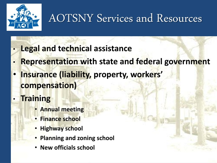 AOTSNY Services and Resources
