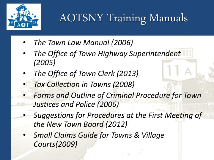 AOTSNY Training Manuals