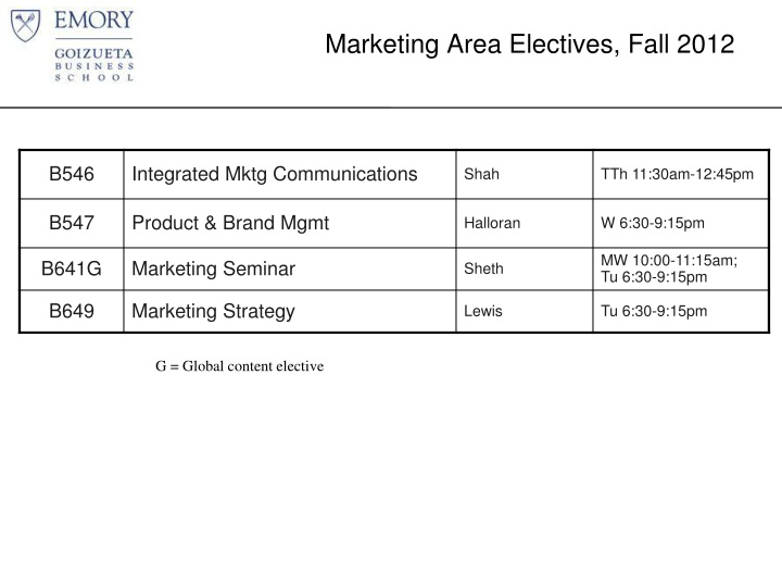 Marketing Area Electives, Fall