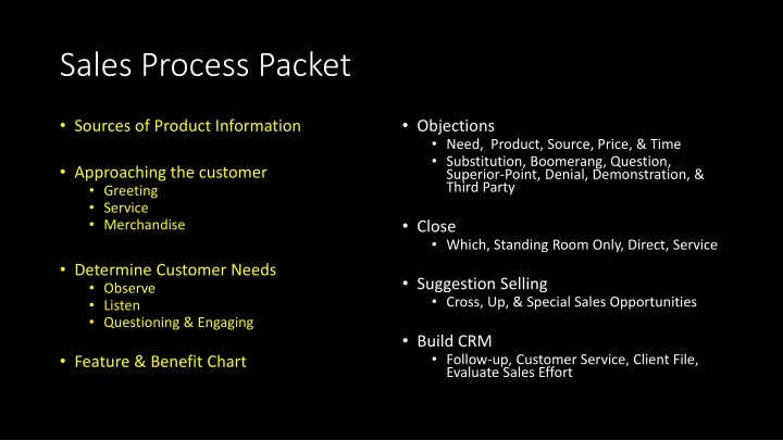 Sales Process Packet