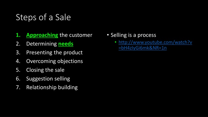 Steps of a Sale