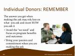 individual donors remember