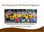 key resources for rural programs
