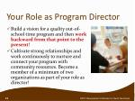 your role as program director