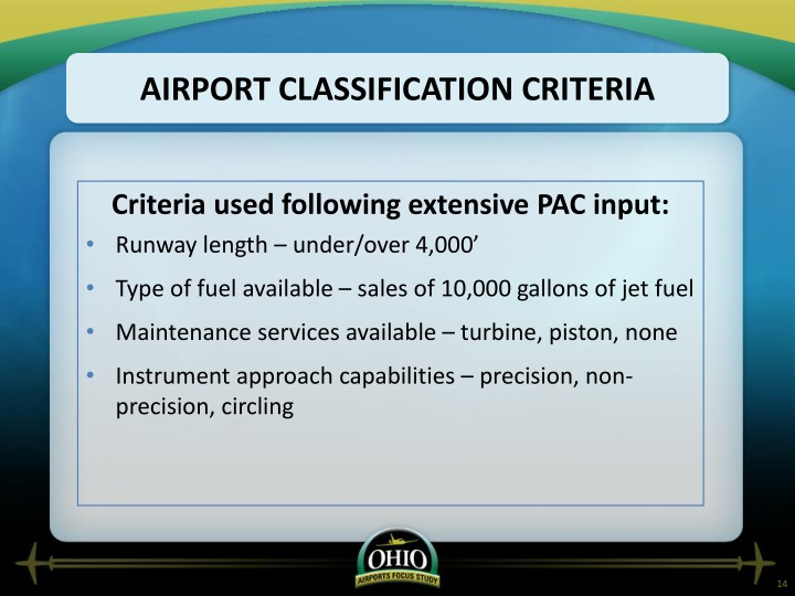 Airport classification criteria