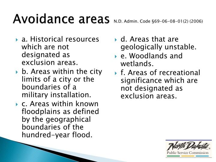 Avoidance areas