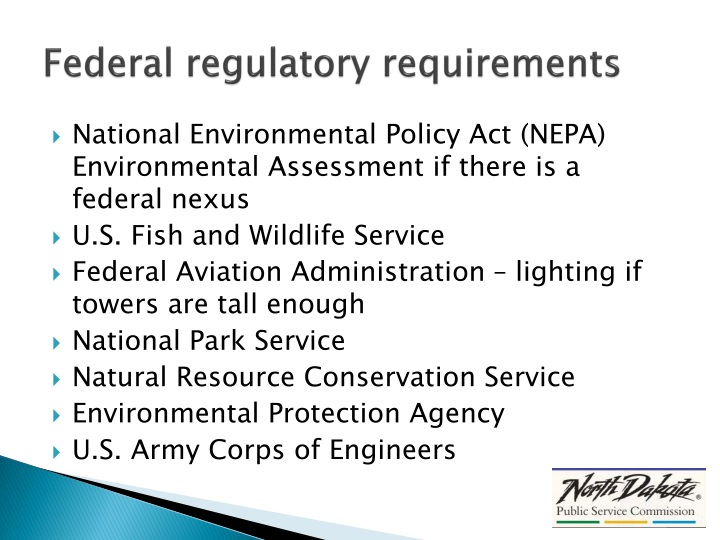 Federal regulatory requirements