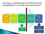how does an applicant get a certificate of site compatibility or a corridor and route permit