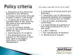 policy criteria