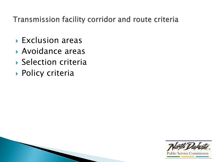 Transmission facility corridor and route criteria