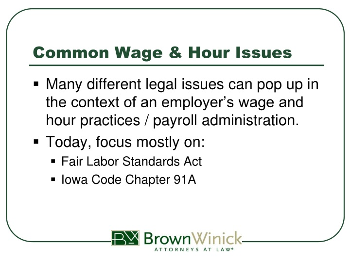 Common wage hour issues