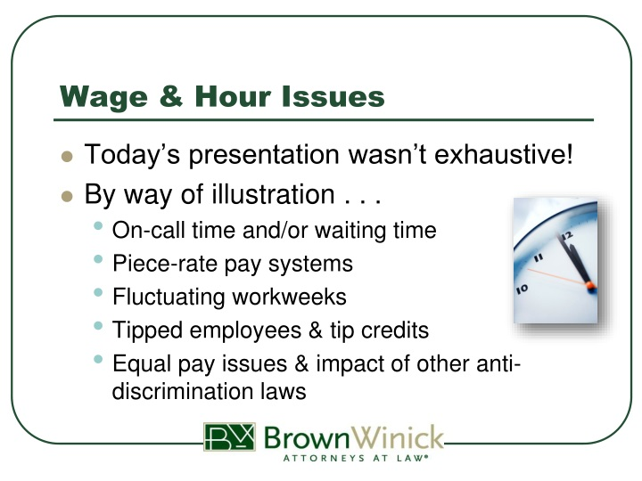 Wage & Hour Issues
