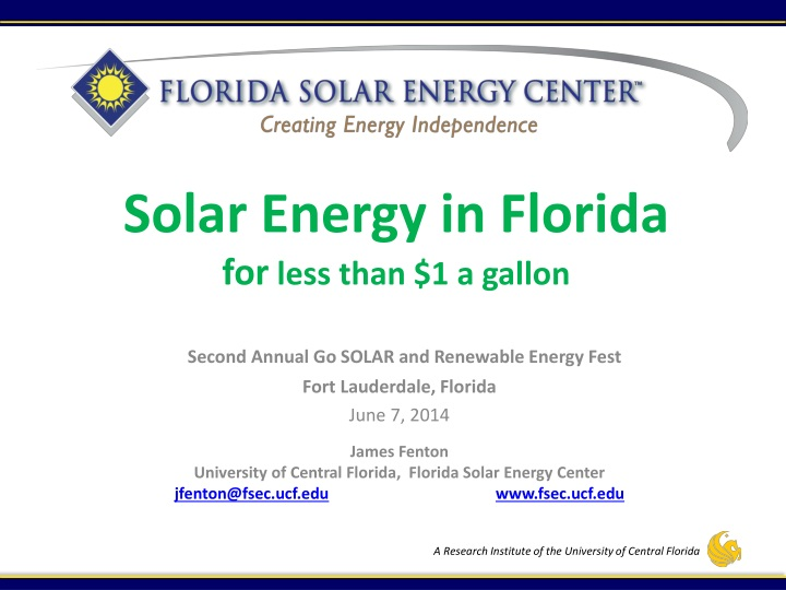 Solar energy in florida for less than 1 a gallon