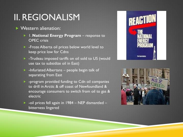 II. Regionalism