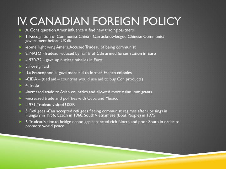 IV. Canadian Foreign Policy