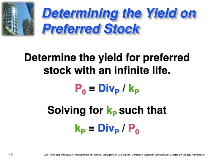 Determining the Yield on Preferred Stock